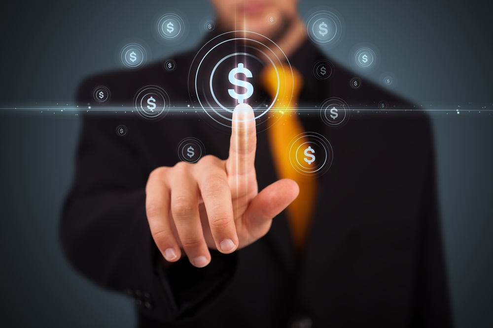 Businessman pressing business type of modern buttons with virtual background.jpeg
