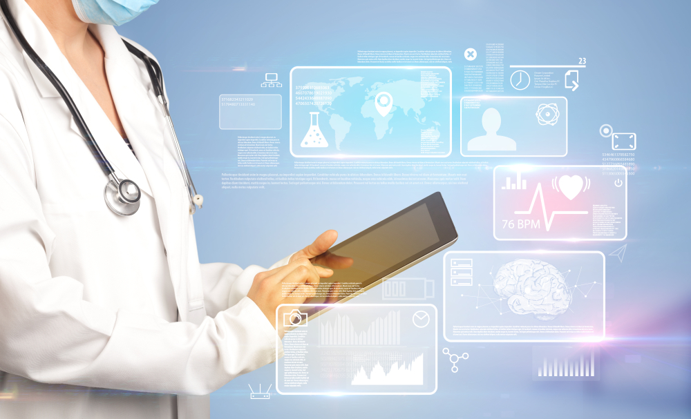 Female doctor holding tablet with blue background and informative graphs and charts-1