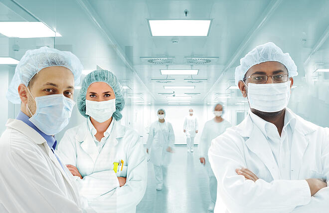 Scientists team at modern hospital lab
