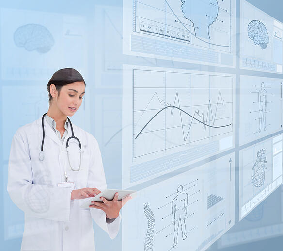 Woman doctor using a tablet pc near to futuristic screens-1
